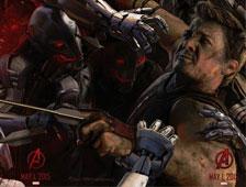 Foto del rediseñado traje de Hawkeye de Jeremy Renner en Avengers: Age of Ultron